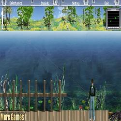 Играть в рыбалку на озере зеленая лагуна
